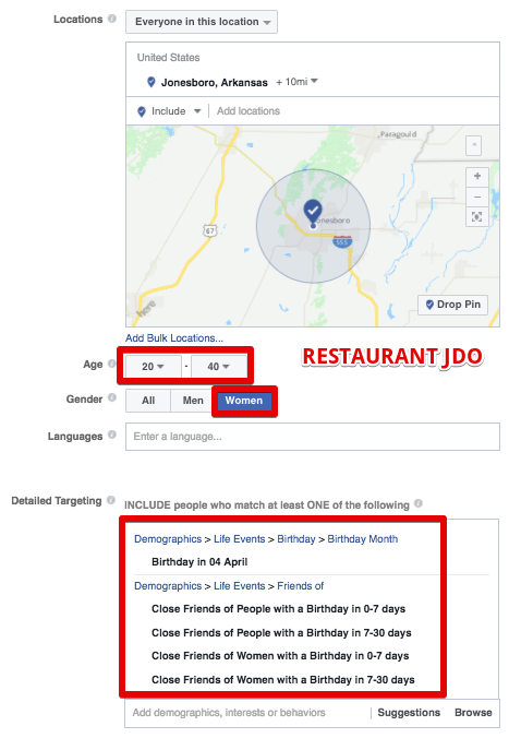 Facebook ads for restaurant leads targeting