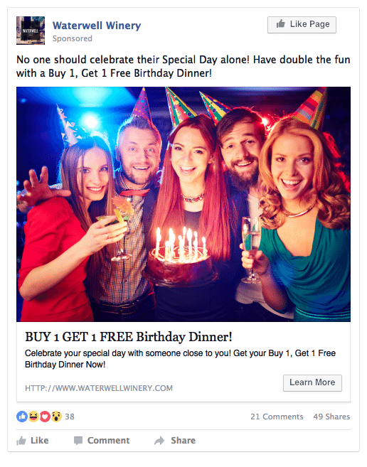 Facebook ads for restaurant leads example ad