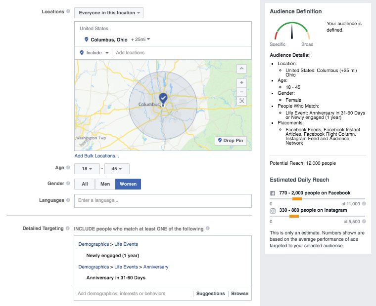 Facebook ads for dental leads targeting