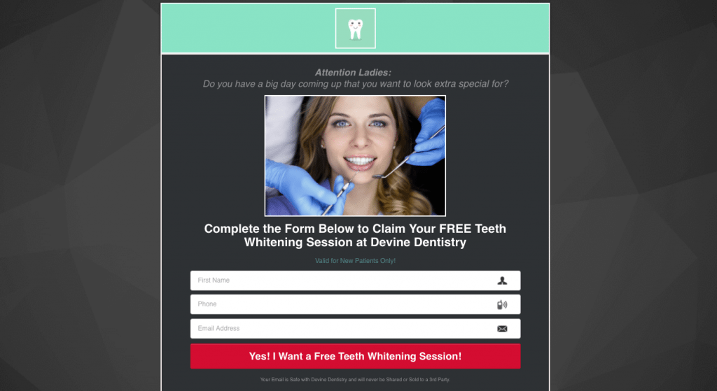 Facebook ads for dental leads landing page