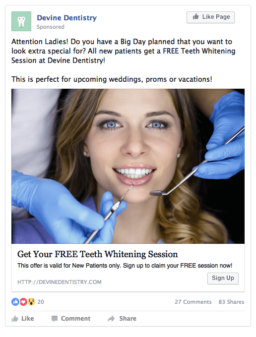Facebook ads for dental leads example