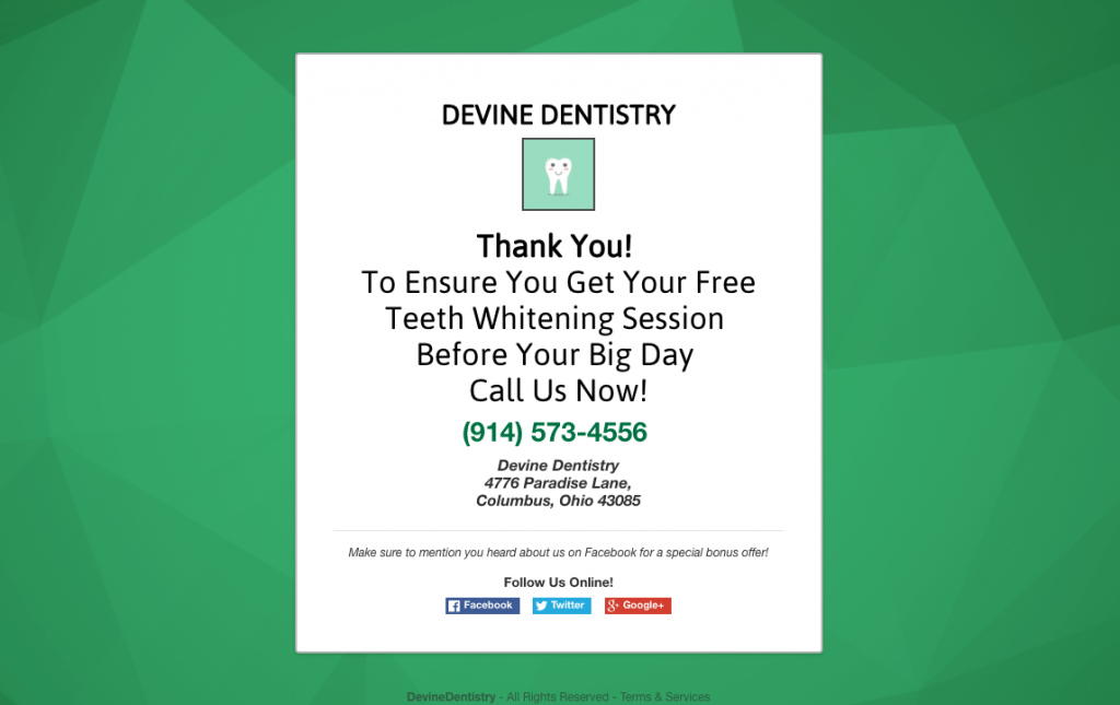 Facebook ads for dental leads thank you page
