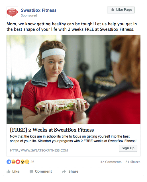 Facebook ads for gym leads example