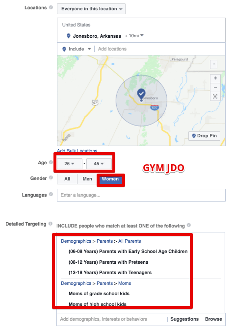 Facebook ads for gym leads targeting