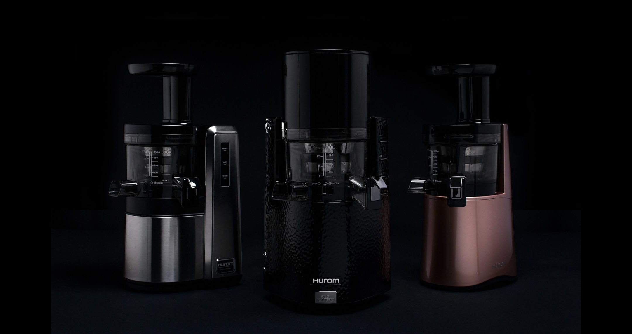 3 hurom juicers shrouded in darkness