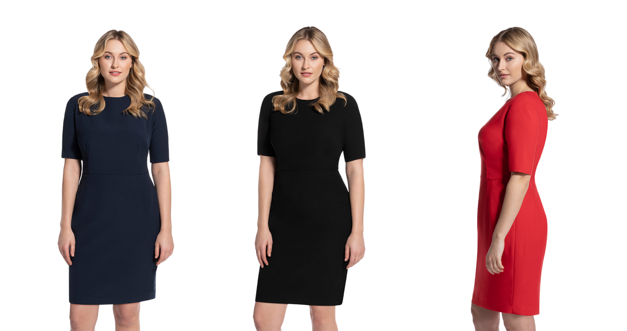 woman in 3 different dresses next to each other