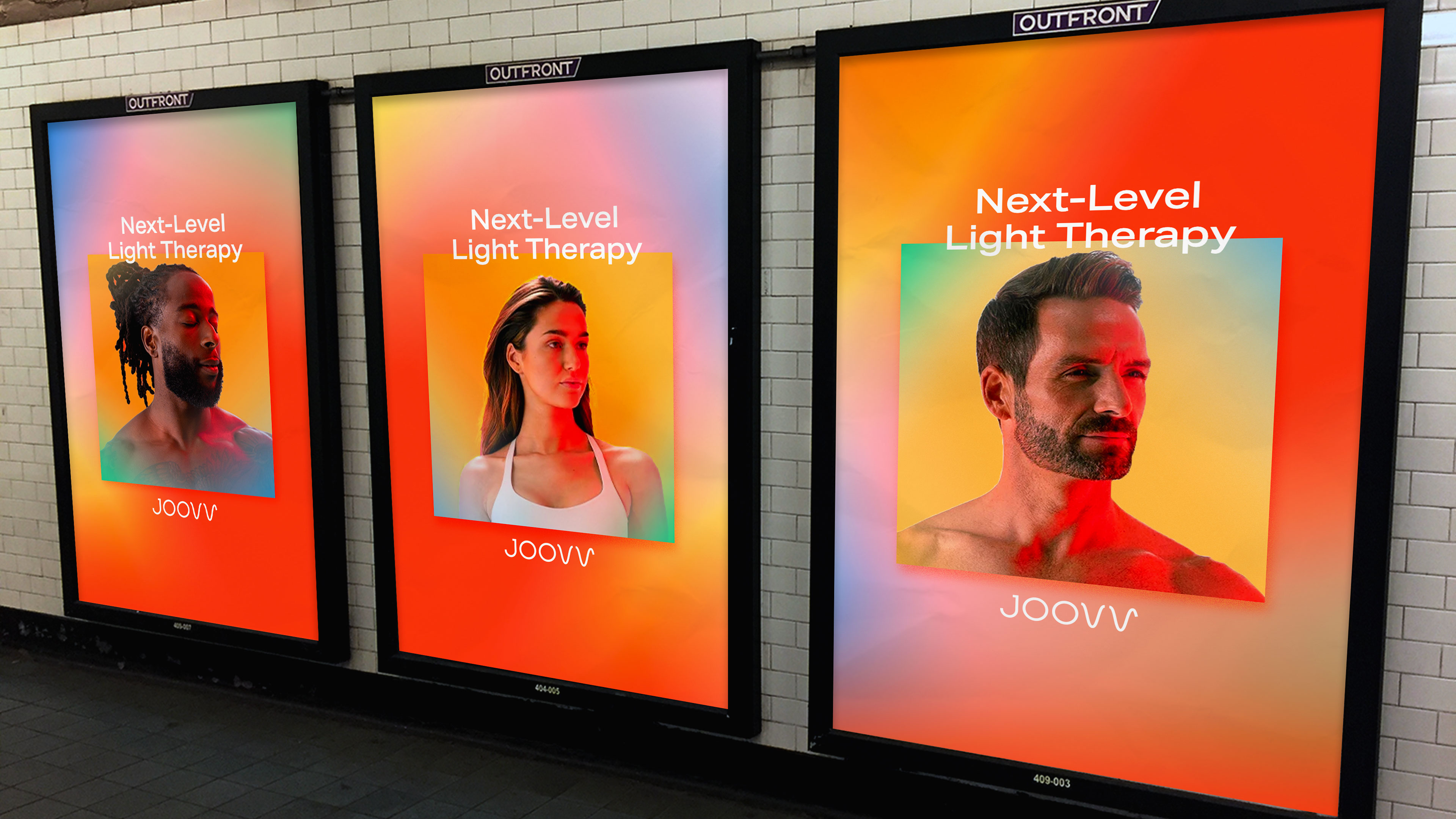 Joovv posters in a subway