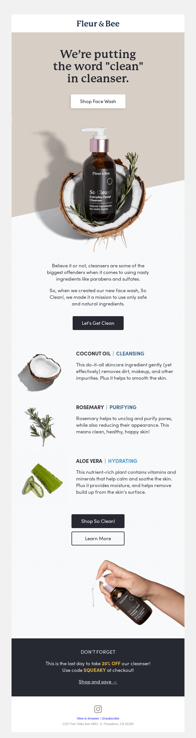 An email from Fleur & Bee calling out its clean products.