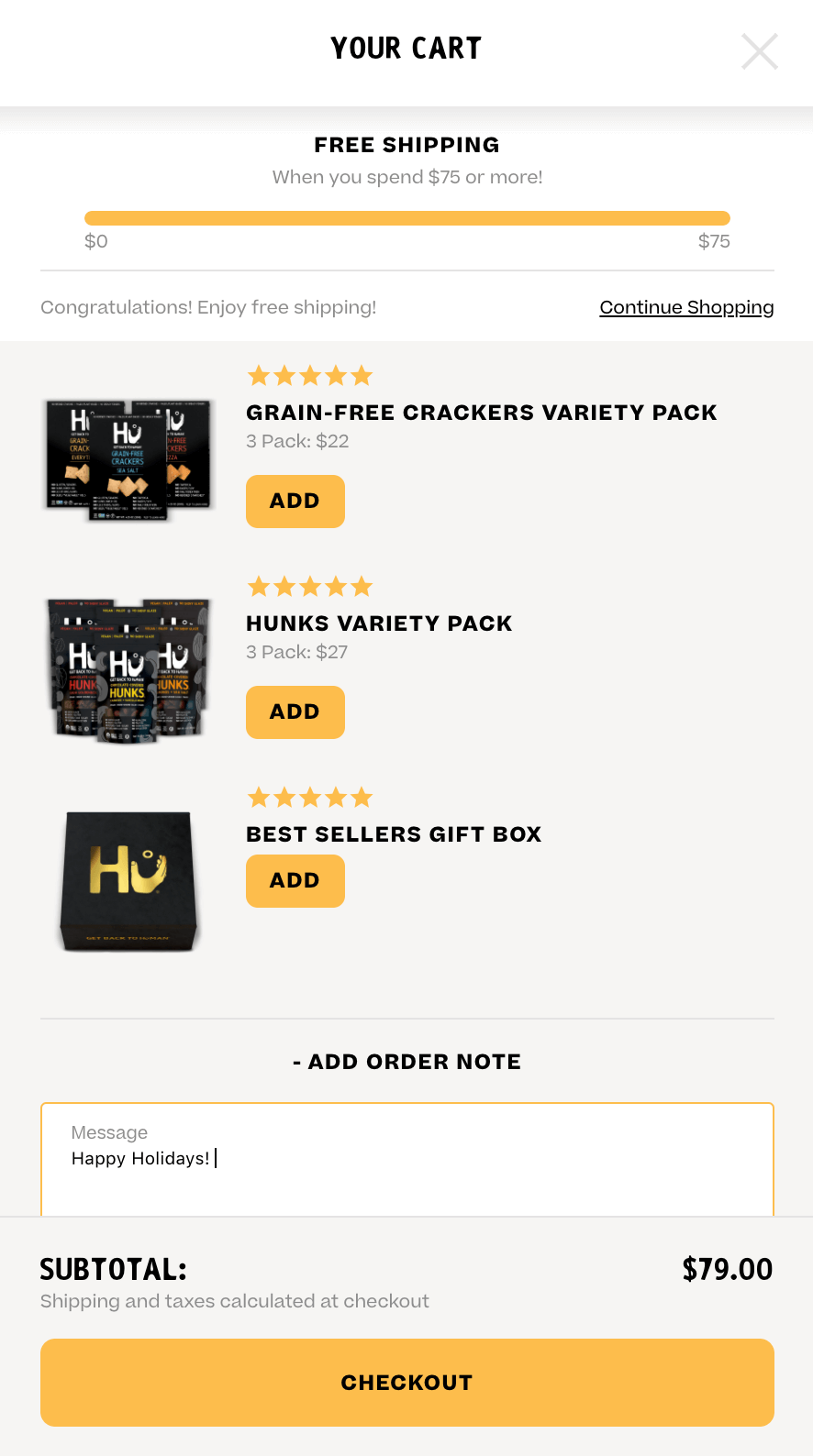 "Hu's cart with ""add order note"" option."