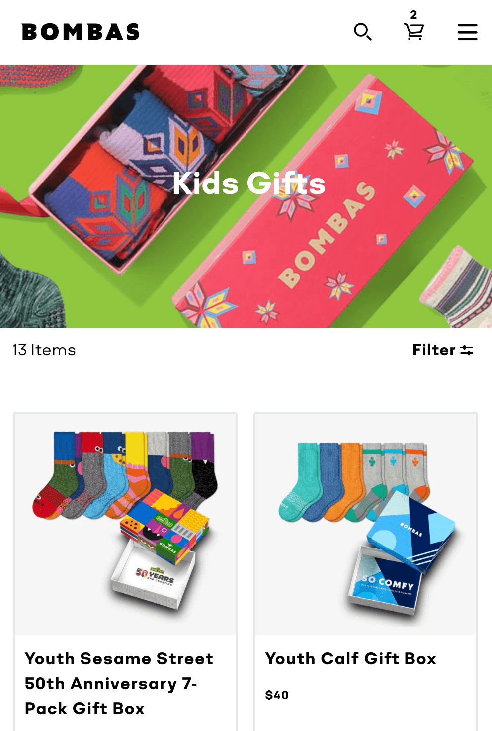 "Bombas' ""Kids Gifts"" section with special gift products."
