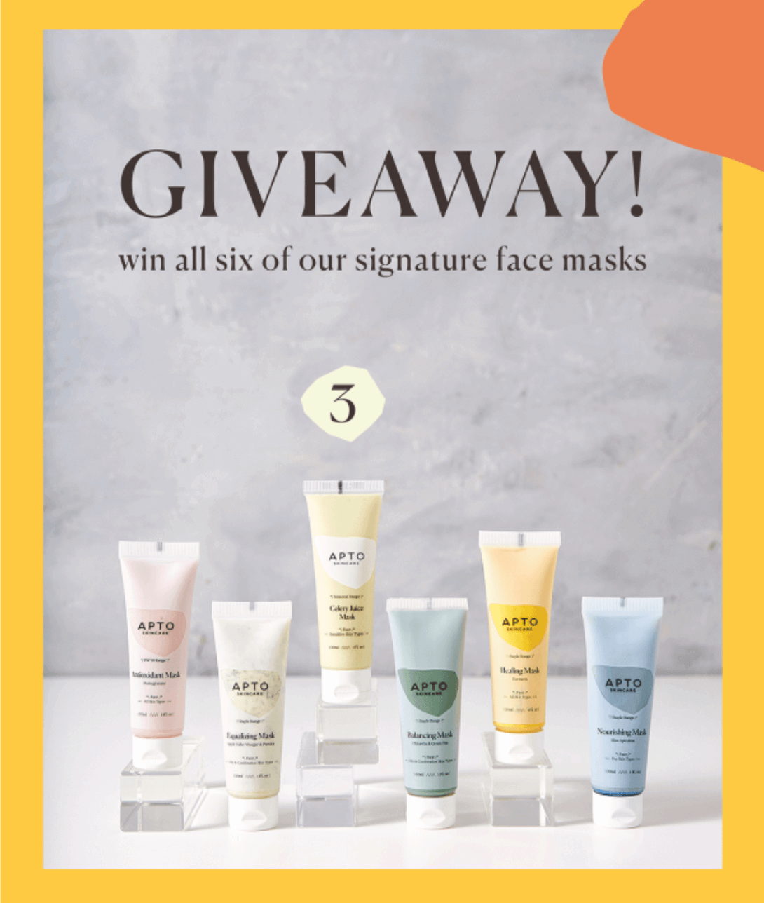Apto Skincare ran a giveaway. This is an effective way to grow a list, and encourage product use and trial. Remarketing to this group will be easier, cheaper and more effective.