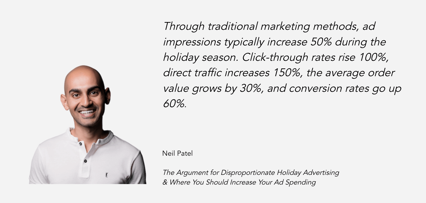 "Ad costs rise, but so does ad performance, during the holiday season. Neil Patel explains more in his post ""The Argument for Disproportionate Holiday Advertising & Where You Should Increase Your Ad Spending"""