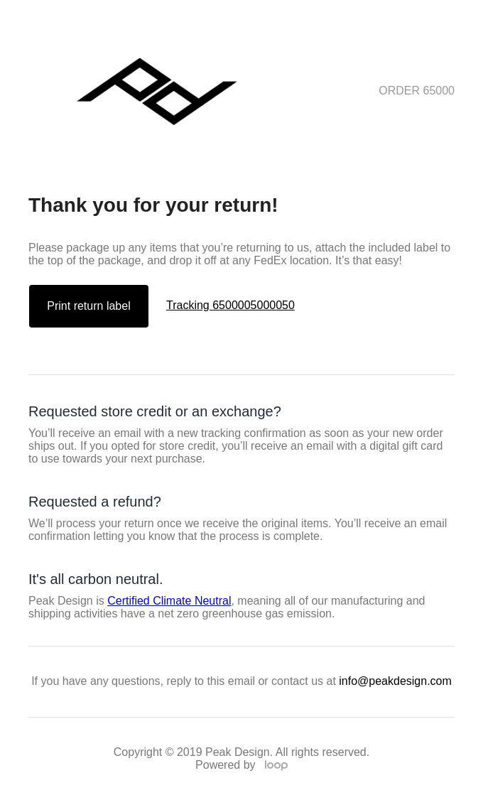 An email from Peak Design confirming a return has been initiated.