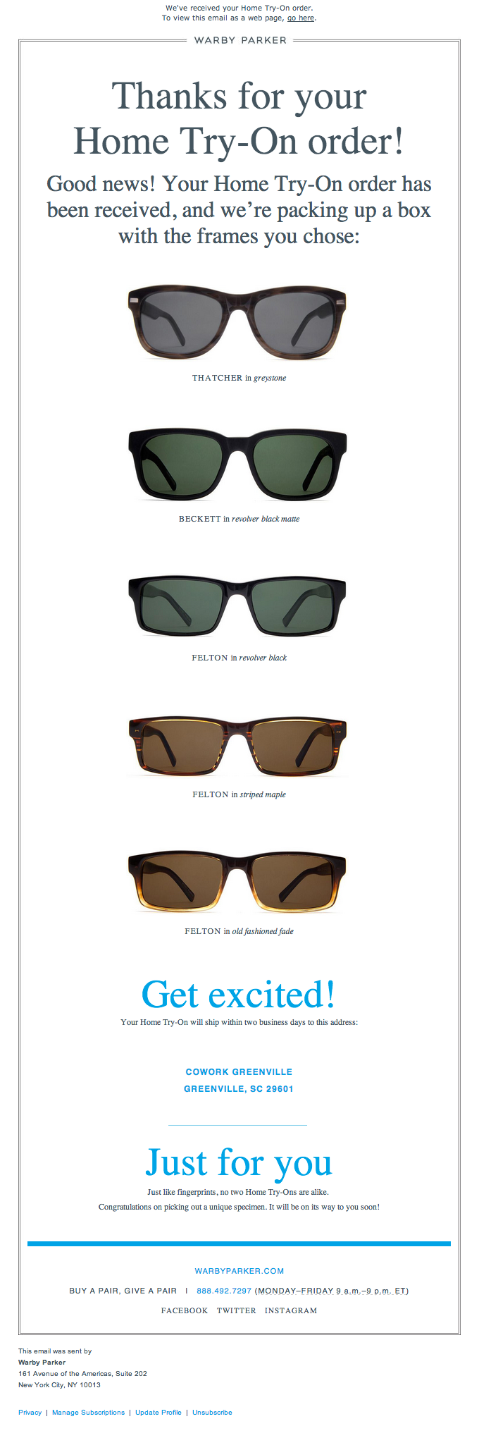 An order confirmation email from Warby Parker.