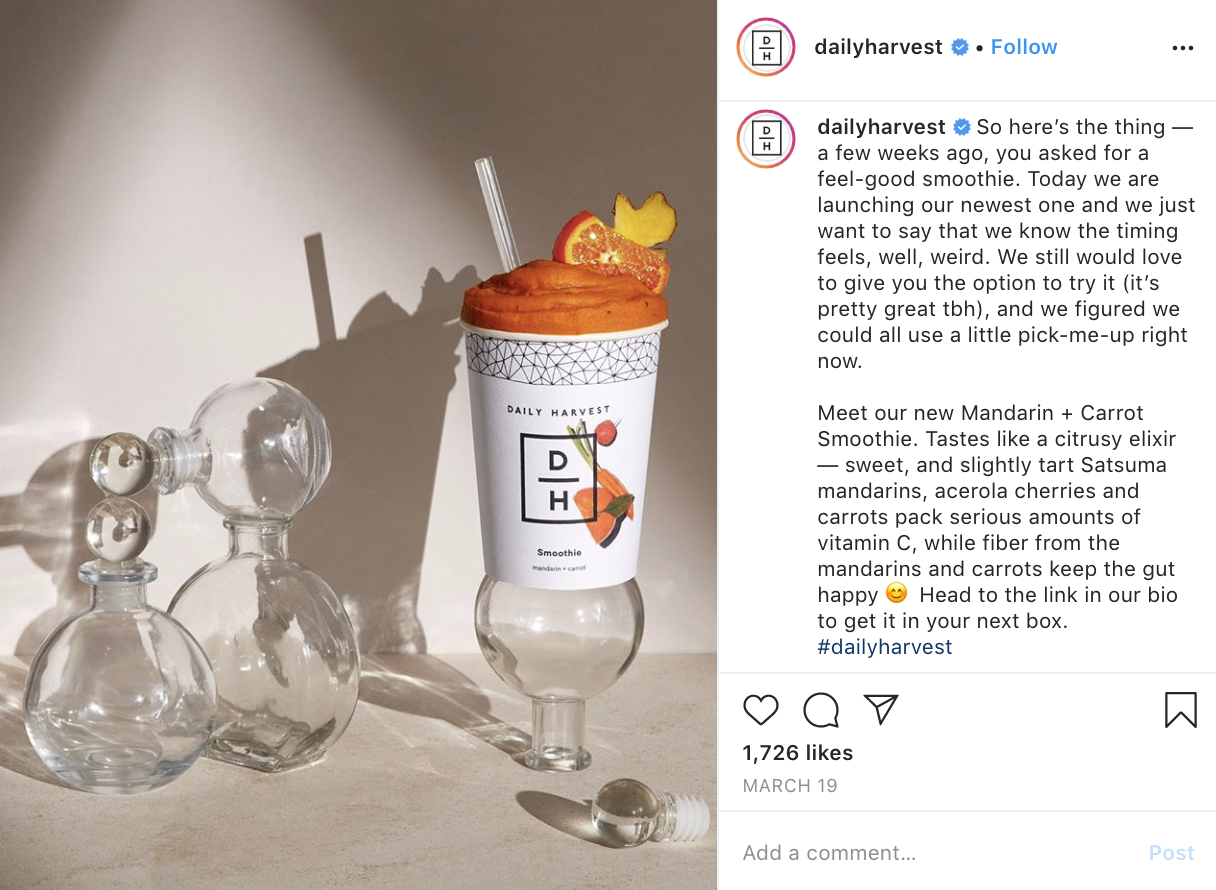 Daily Harvest announcing a new, vitamin C-rich smoothie.