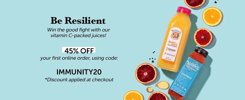 Natalie's Juice homepage discount pop-up.