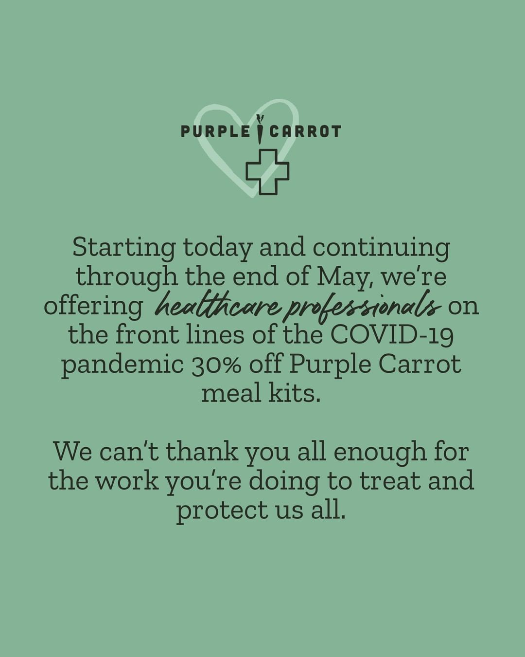 Purple Carrot's Instagram post announcing its healthcare worker discount.