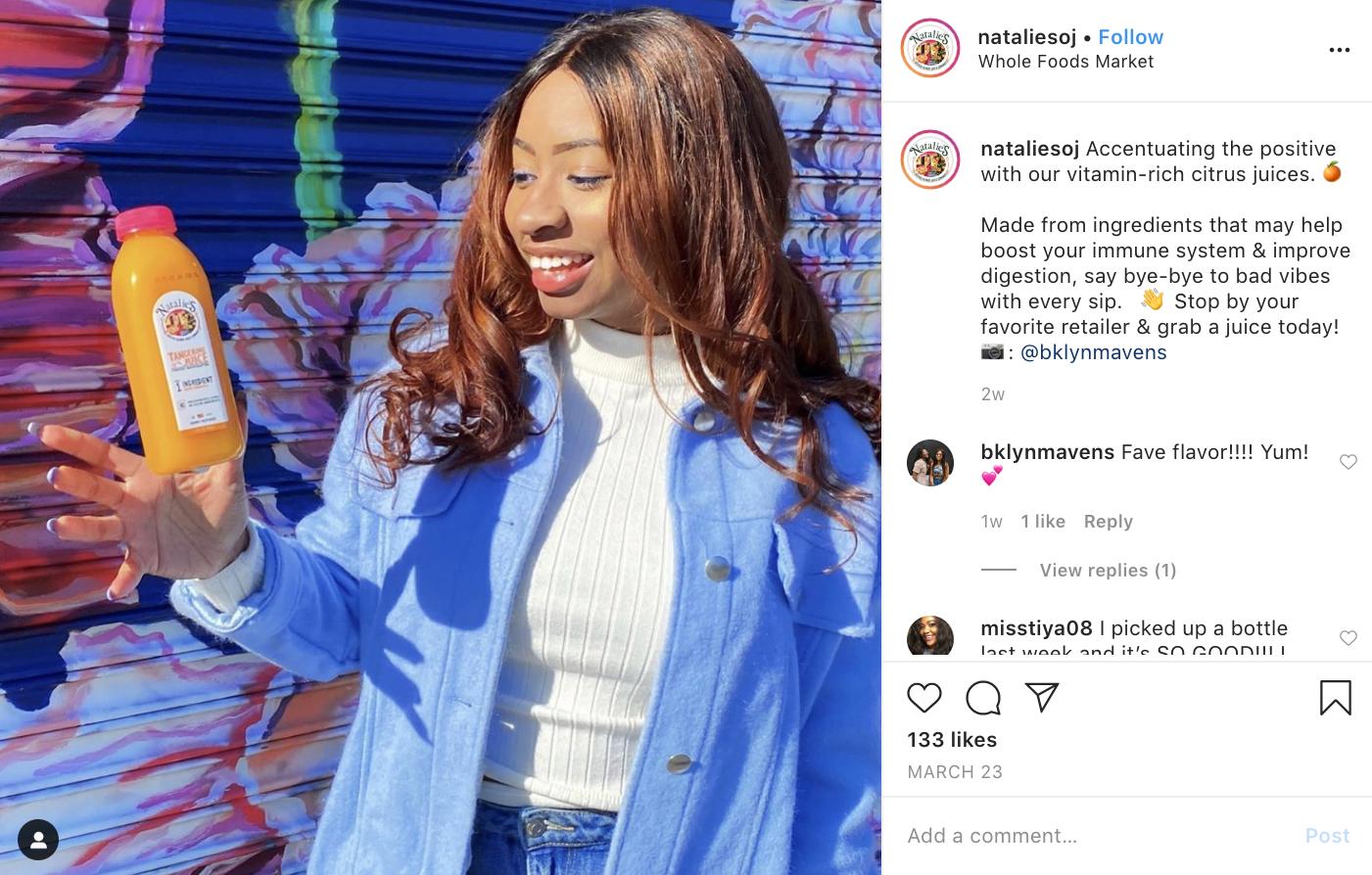 A Natalie's Juice social post highlighting their immune-boosting properties.