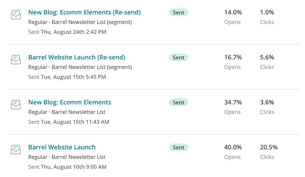 Screenshot of Barrel's MailChimp resend campaign
