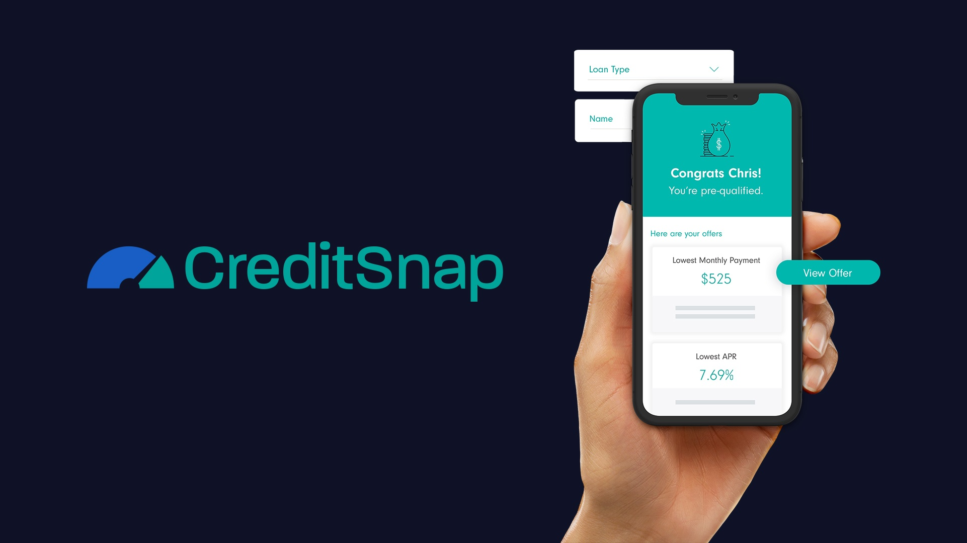 New CreditSnap logo and hand holding phone