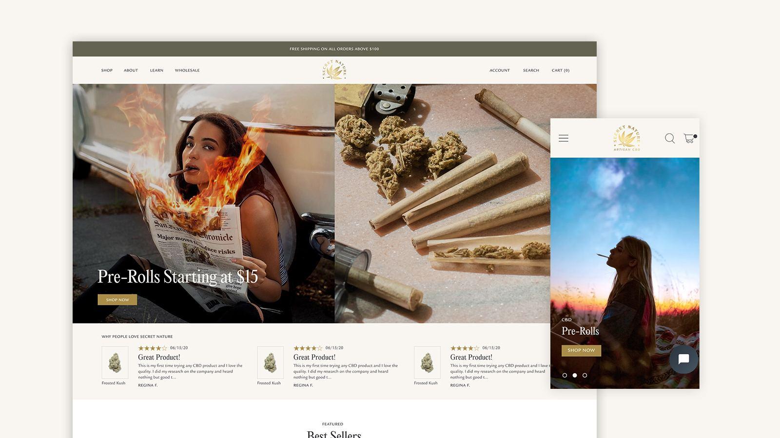 Secret Nature design in mobile and desktop browser