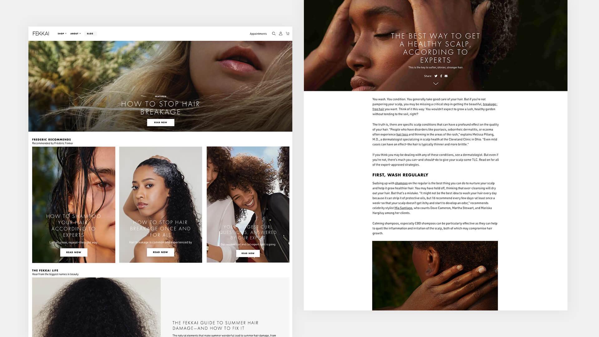 Desktop blog pages