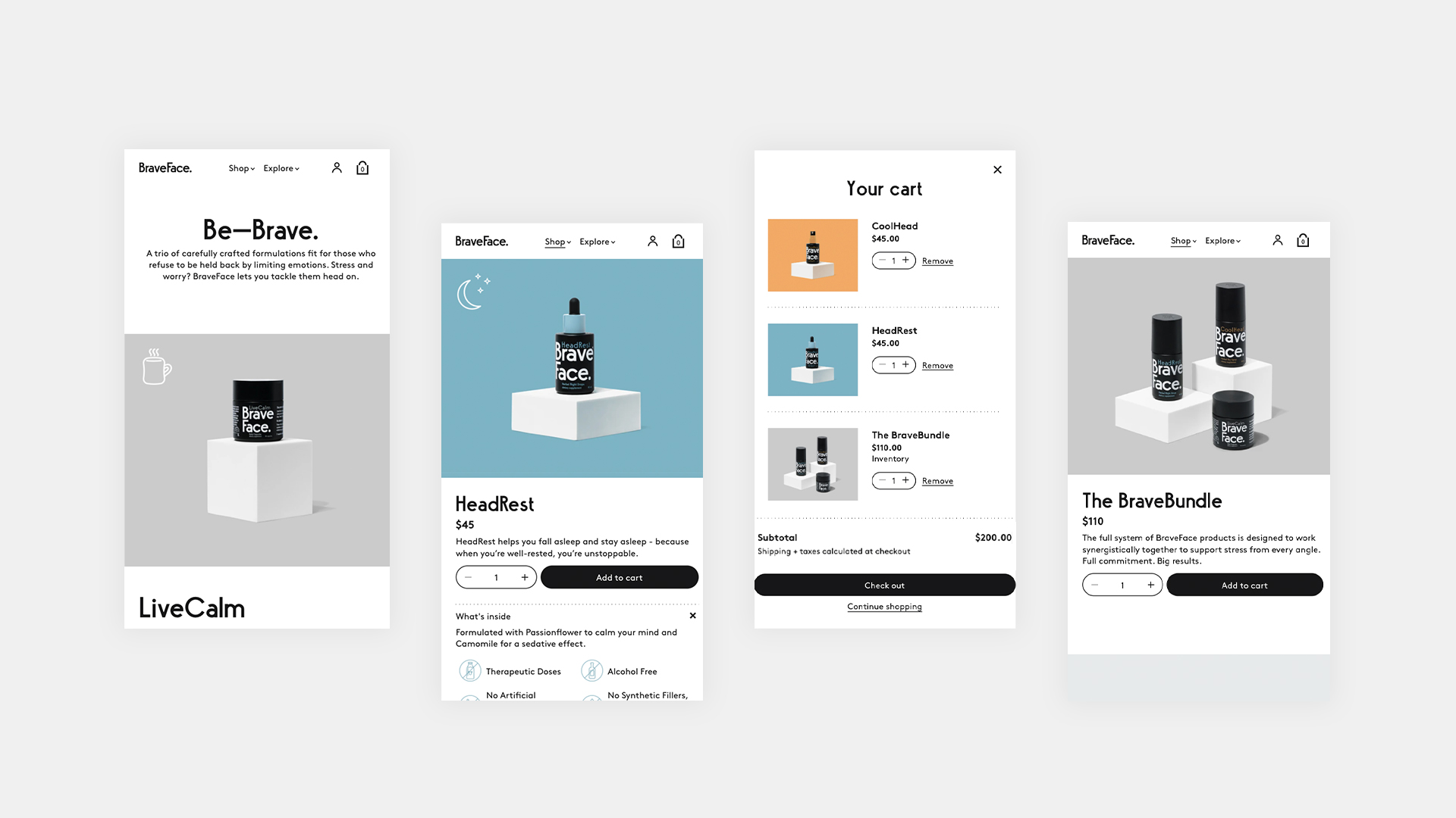 BraveFace mobile designs