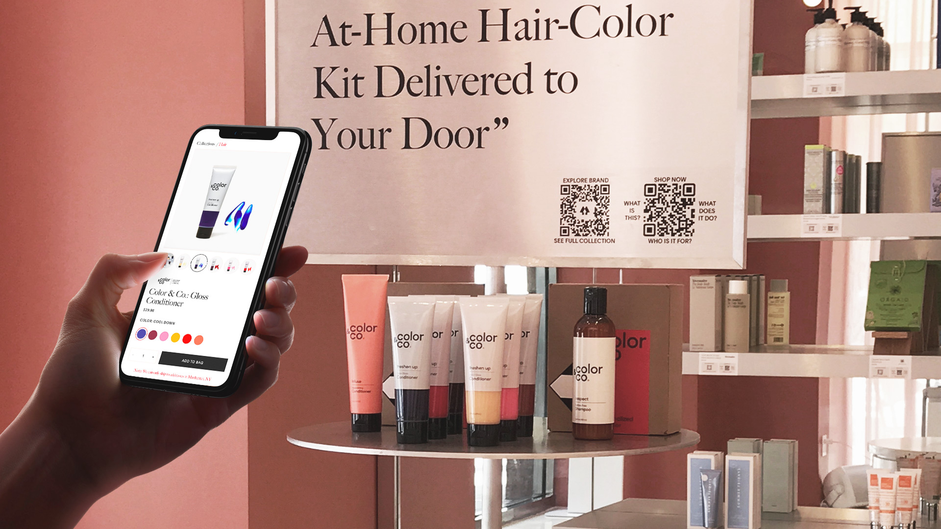 Phone scanning QR code at Allure store