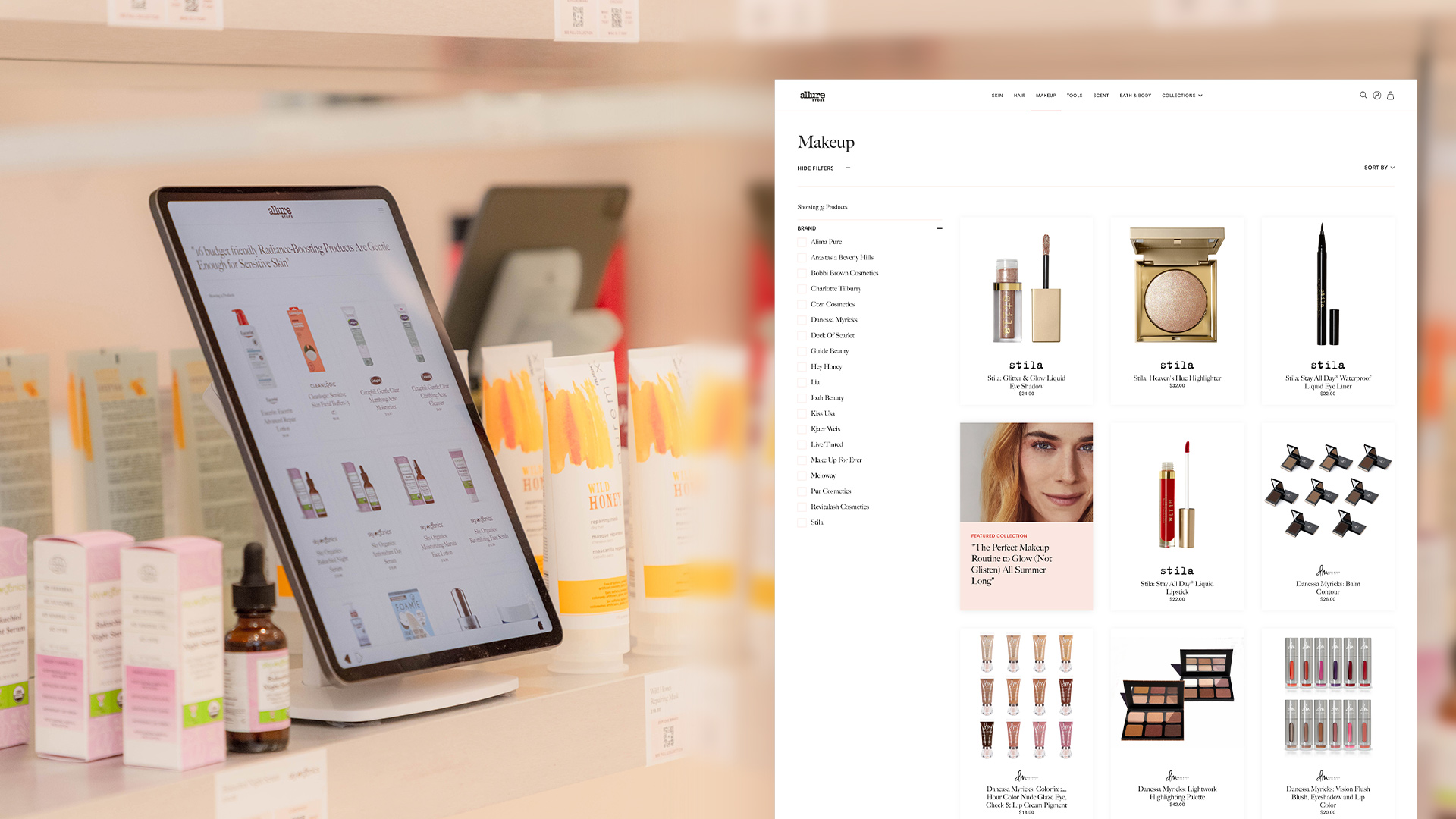 Kiosk experience at the Allure Store