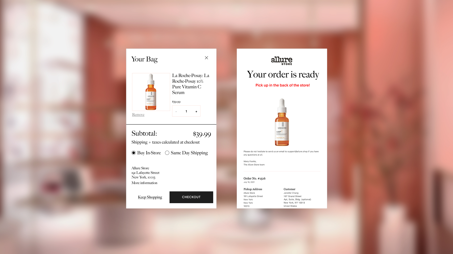 Allure website cart and post purchase Eemail