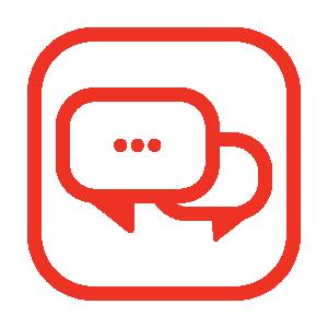 A chat box icon.