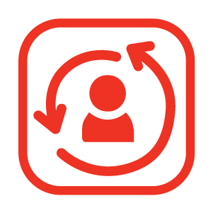 Arrows around a person in an icon.