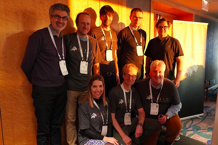 At NeurIPS 2019: Turing award winner Yoshua Bengio, Bernhard Schoelkopf, Nuria Olivier, Matthias Bethge, Max Welling, Sami Kaski, Sepp Hochreiter and Turing award winner Yann LeCun (Source:ellis.eu)