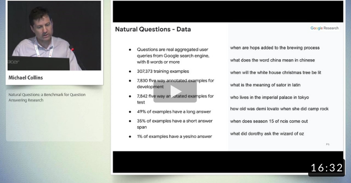 Natural Questions: A Benchmark for Question Answering Research (Transactions of the Association for Computational Linguistics, 2019)