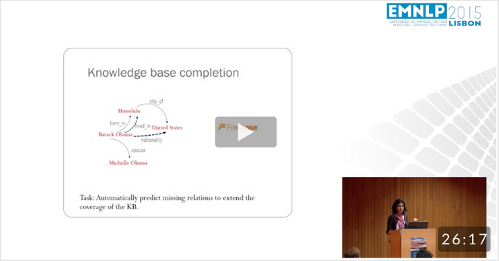 Representing Text for Joint Embedding of Text and Knowledge Bases (EMNLP 2015)