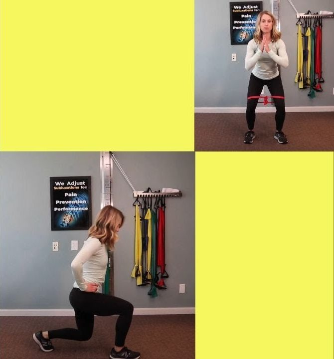 woman using bands to strength her lower half of her body