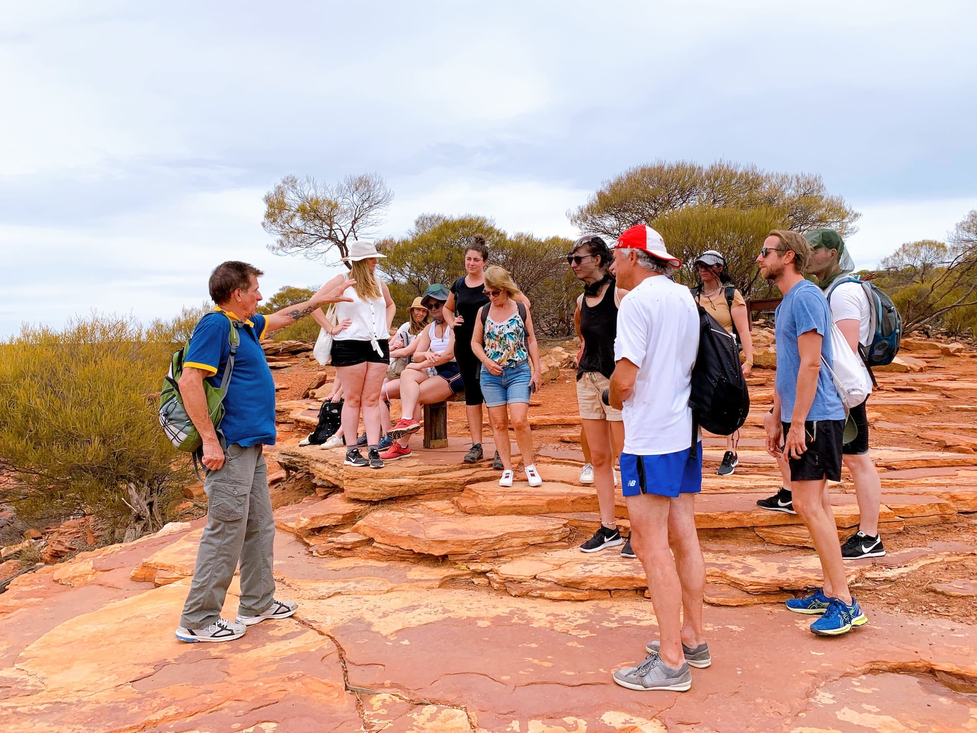 D'Guy with visitors walking in Kalbarri Gorges