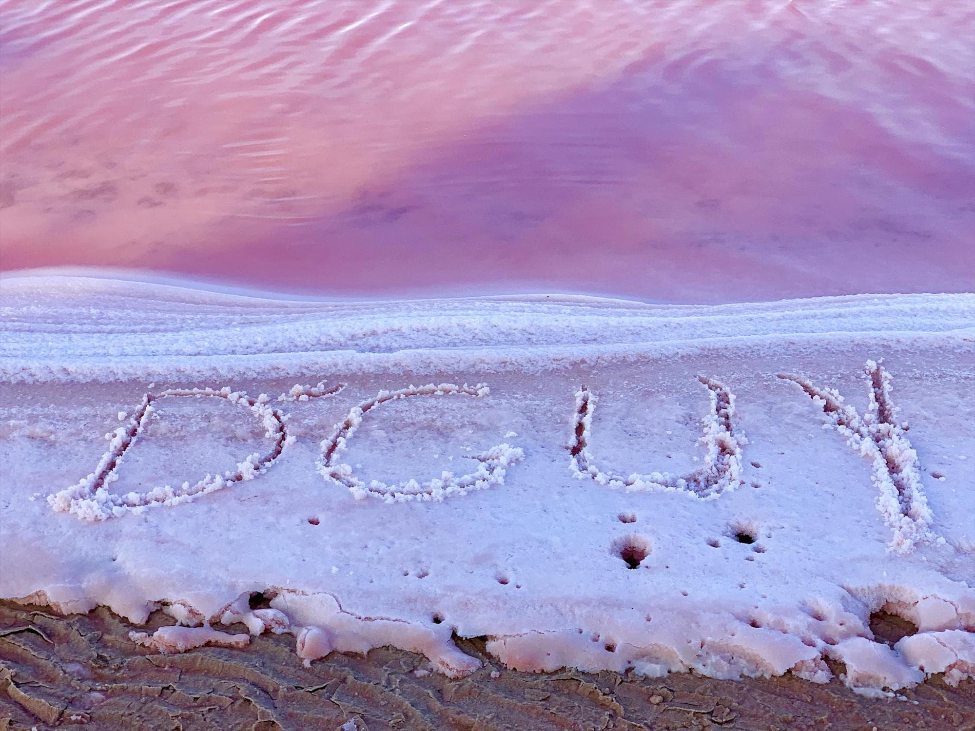 Pink lake sand
