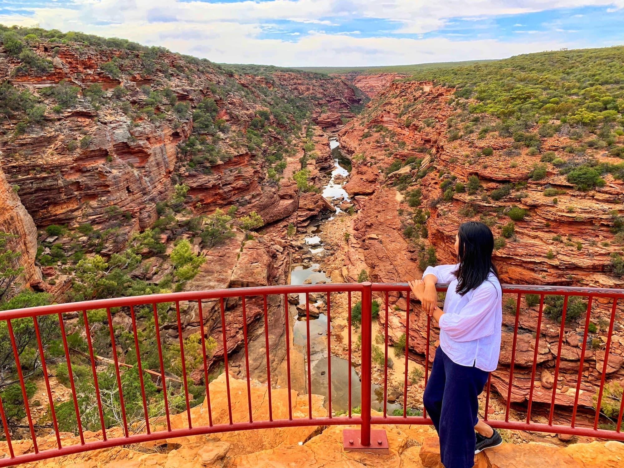 woman looking taking the the Z bend view Kalbarri