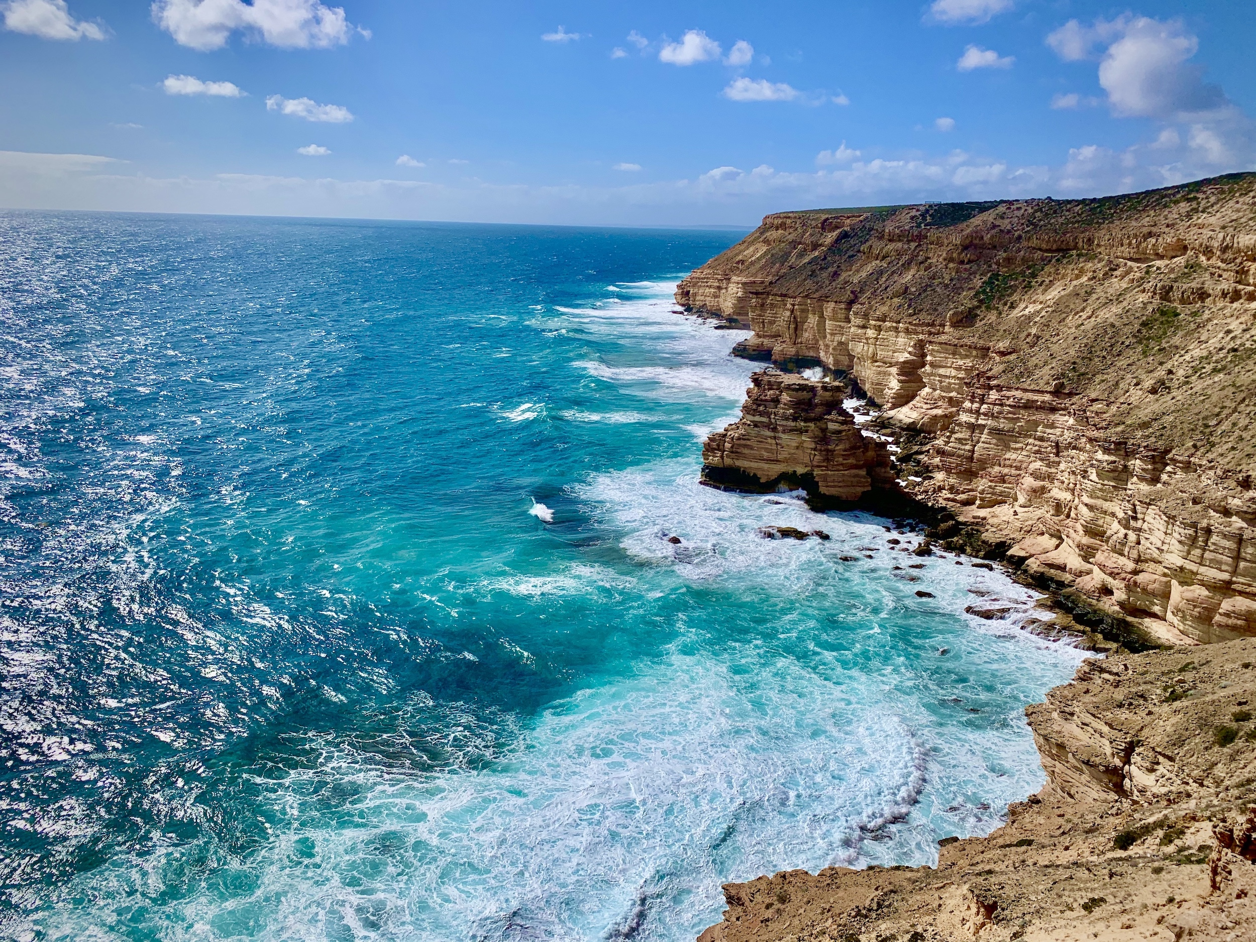 Waves breaking over Kalbarri coastal cliffs