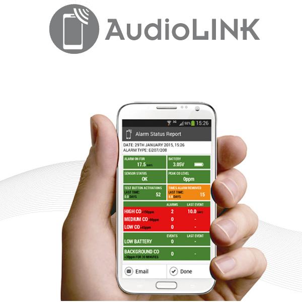 Audiolink funksjonen i detektorer gjør det mulig å hente ut data fra detektoren til en smarttelefon.