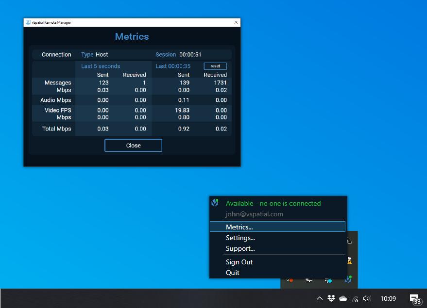 Remote desktop utility in the hotbar