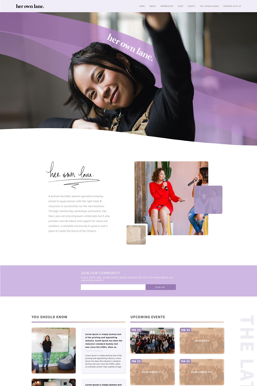 Her Own Lane: Web Design