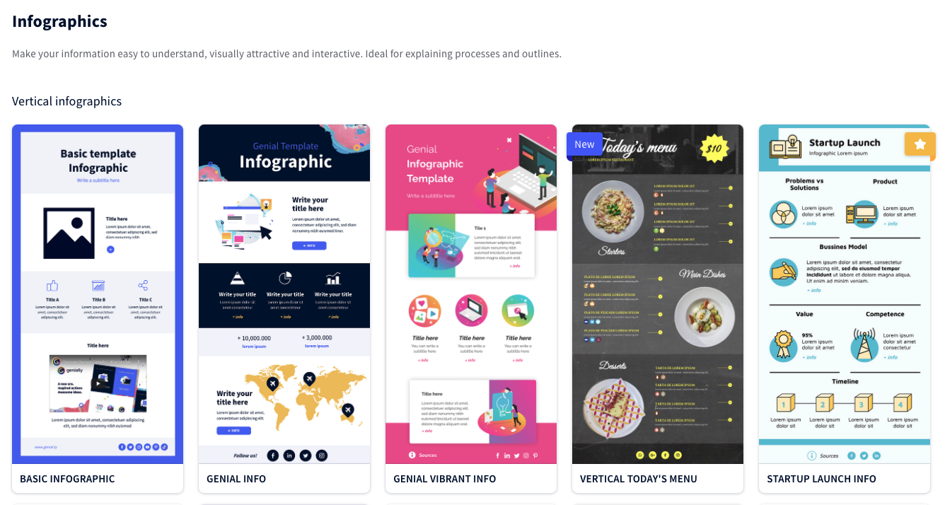 A screenshot of Genial.ly's infographic templates