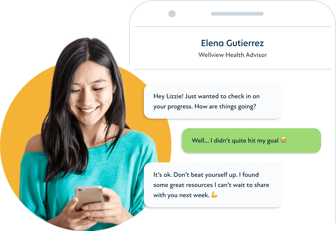 A composite of a young woman looking at her phone and a mock smart phone chat on her right showing a conversation between the woman and her health advisor.