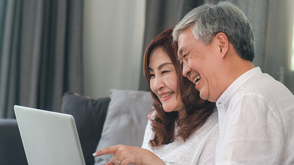 Asian senior couple video call at home. Asian Senior Chinese gra|vitually-connecting