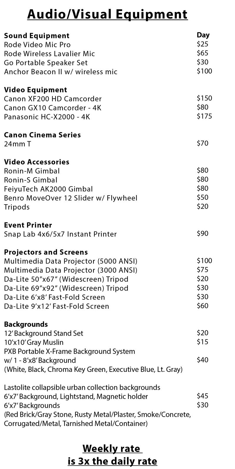 Audio/Video Equipment Rental List