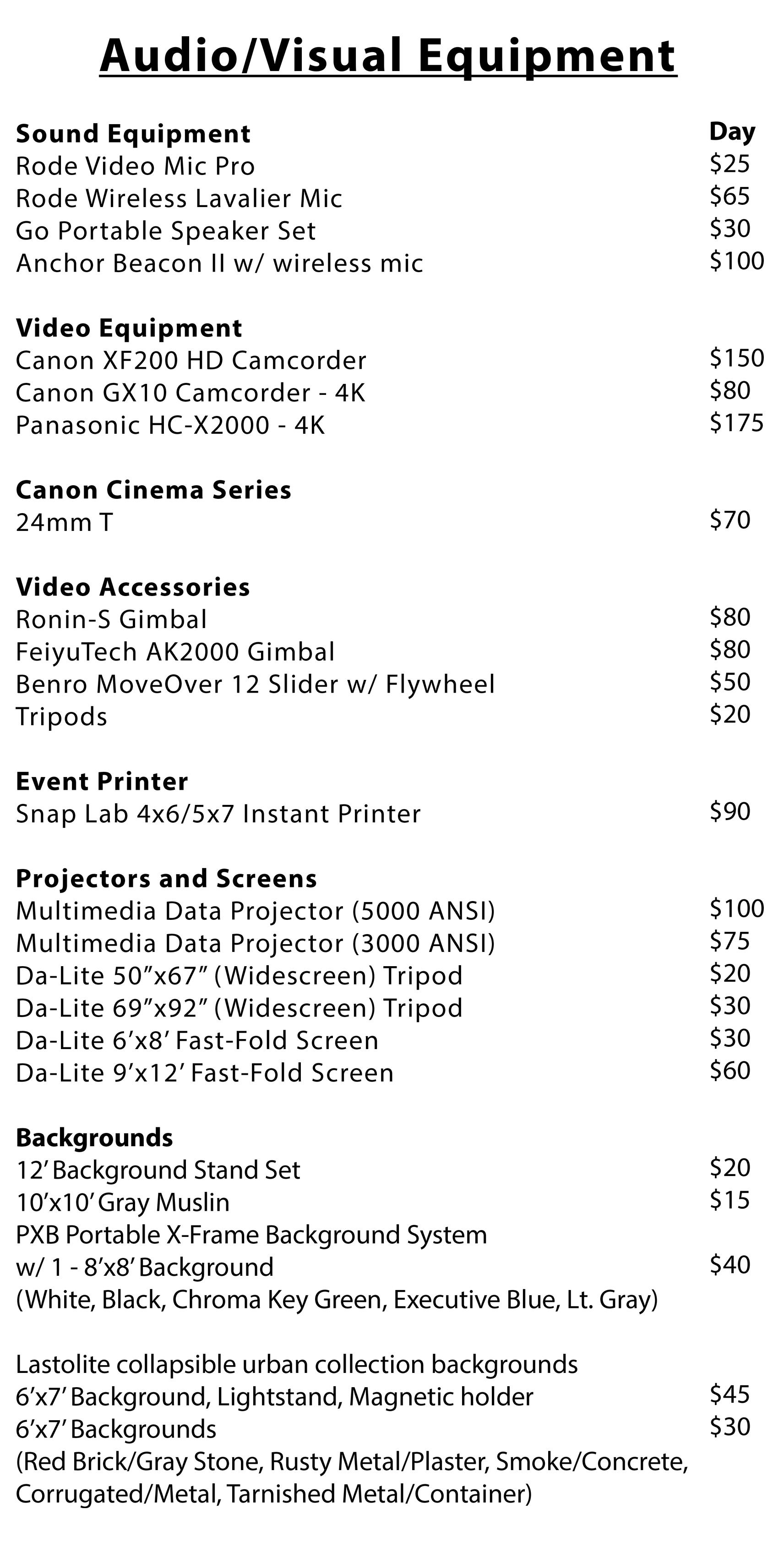 DSLRs, Lenses, and Flashes Rental List