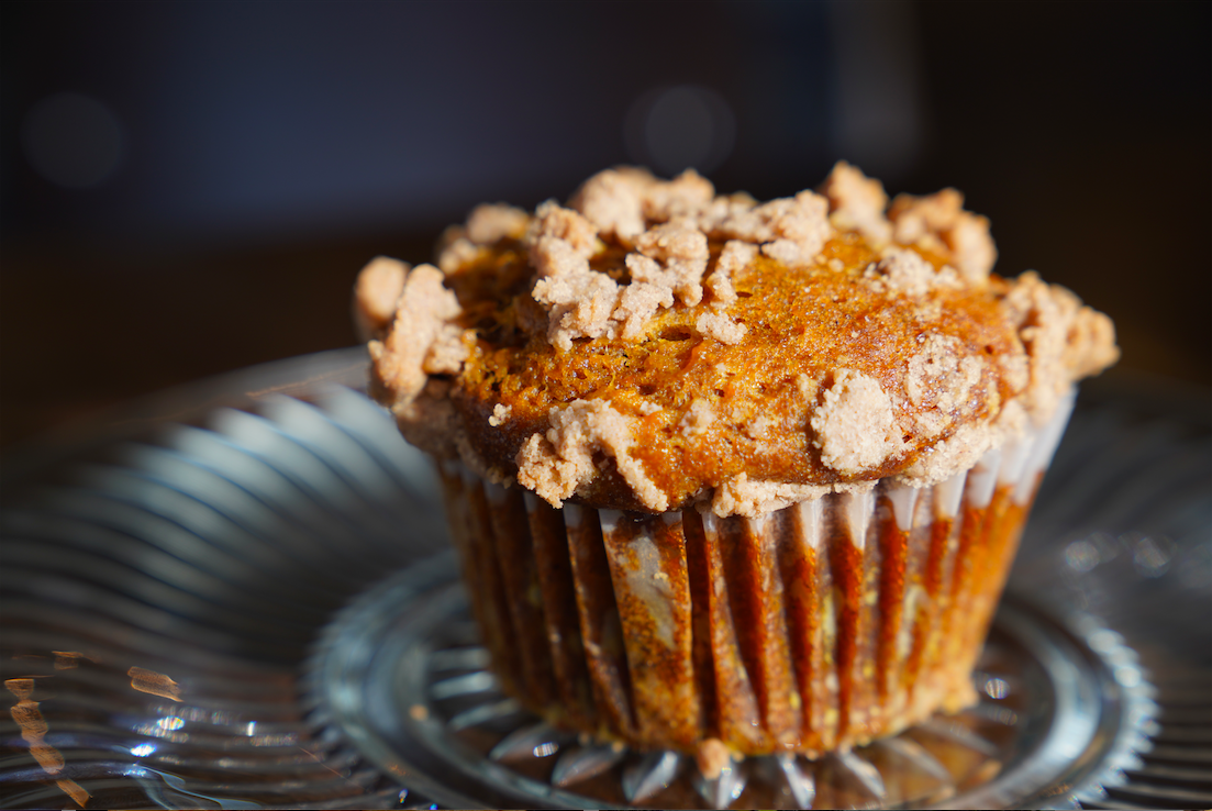 close up photo of a muffin on a plate