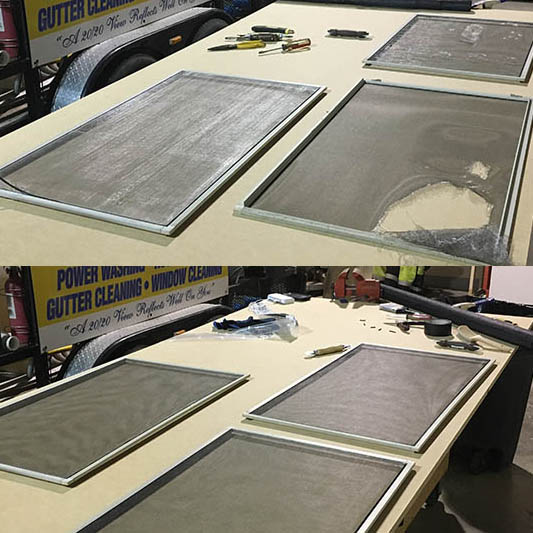 before and after of window screen repair by 20/20 View in Columbus, OH
